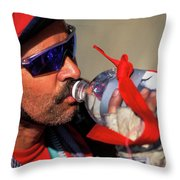 A Man Drinking Water Throw Pillow