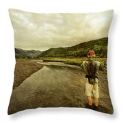 A Man Flyfishing On A River Throw Pillow