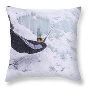 A Man Hangs In A Hammock Sleeping Bag Throw Pillow