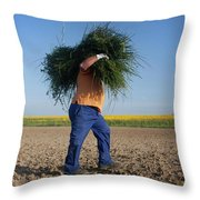 A Man Harvests Sedge To Be Used Throw Pillow