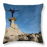 A Man Hiking And Exploring The Complex Throw Pillow