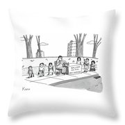 A Man Holding A Syringe Sits At A Stand Throw Pillow by Zachary Kanin