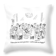 A Man Holding An Electronic Tablet Is Seen Throw Pillow