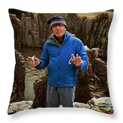 A Man Holds Climbing Gear And Smiles Throw Pillow