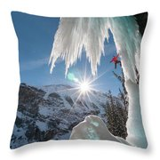 A Man Ice Climbing Louise Falls Throw Pillow