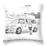 A Man In A Minivan Speaks To A Woman At A Car Throw Pillow