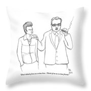 A Man In A Suit Smoking A Cigar Throw Pillow