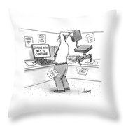 A Man In An Office Cubicle Holds A Chair Throw Pillow