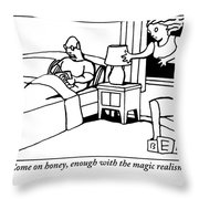 A Man In Bed Speaks To His Wife Who Is Floating Throw Pillow