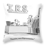 A Man Introduces A Lawyer To An Irs Agent Throw Pillow by Christopher Weyant