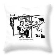 A Man Is Seated In His Cubicle With A Megaphone Throw Pillow