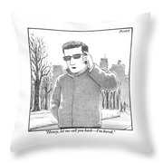 A Man Is Seen Talking On A Cell Phone Throw Pillow