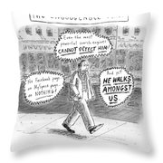 A Man Is Seen Walking Down The Sidewalk With Word Throw Pillow