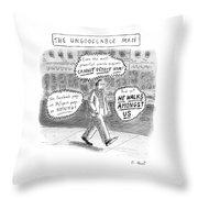 A Man Is Seen Walking Down The Sidewalk With Word Throw Pillow by Roz Chast