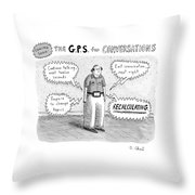 A Man Is Standing Listening To A G.p.s. Voice Throw Pillow