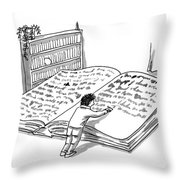 A Man Is Writing In A Huge Book On The Floor Throw Pillow
