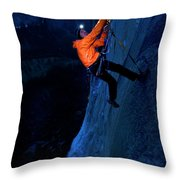 A Man Jumaring To A Route On El Cap Throw Pillow