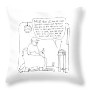A Man Listens To The Radio Throw Pillow