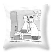 A Man Looks Inside A Patient's Ear Throw Pillow