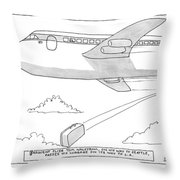 A Man Looks Out The Window Of An Airplane Throw Pillow