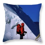 A Man Mountaineering In The Alps Throw Pillow