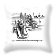 A Man On A Couch Speaks To His Therapist Throw Pillow