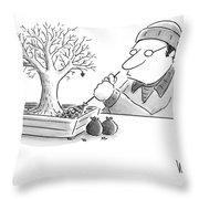 A Man Rakes Leaves In A Tiny Bonsai Tree Throw Pillow