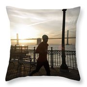 A Man Running On A Dock In The Harbour Throw Pillow