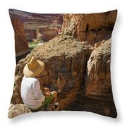 A Man Sits High On The Rim Of South Throw Pillow