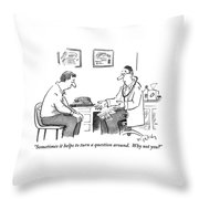 A Man Sits In A Doctor's Office Talking Throw Pillow