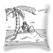 A Man Sits On A Deserted Island With Two Boxes: Throw Pillow