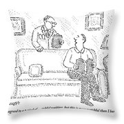 A Man Sits On A Living Room Couch Throw Pillow