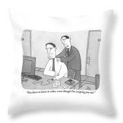 A Man Sitting At His Desk Is Massaged Throw Pillow