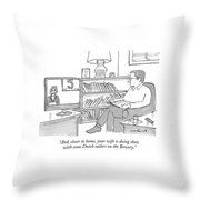 A Man Sitting At Home Watches A News Report On Tv Throw Pillow