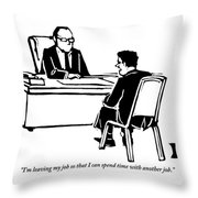 A Man Sitting In Front Of His Boss Is Explaining Throw Pillow