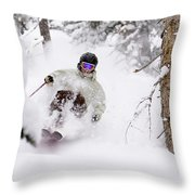 A Man Skiing Powder In The Trees Throw Pillow