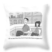 A Man Speaks To A Woman On A Balcony In The City Throw Pillow