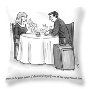 A Man Speaks To A Woman On A Date At A Restaurant Throw Pillow