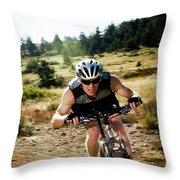 A Man Speeds Down A Trail On A Mountain Throw Pillow
