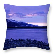 A Man Standing On The Edge Of A Lake Throw Pillow