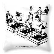A Man Stands At The Desk Of A Gym. Four People Throw Pillow