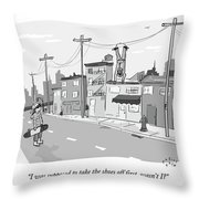 A Man Suspends Upside Down From Telephone Wires Throw Pillow