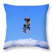 A Man Takes A Photo While Jumping Throw Pillow