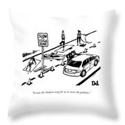 A Man Talking To A Driver As He Passes A Slow Throw Pillow