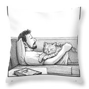 A Man Talking To The Cat Lying On His Stomach Throw Pillow