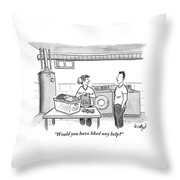 A Man Talks To A Woman Who's Just Done Laundry Throw Pillow