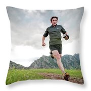 A Man Trail Runs Along The Spring Brook Throw Pillow