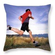 A Man Trail Runs In Salt Lake City Throw Pillow