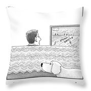 A Man Watches His Football Team Take Throw Pillow