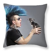 A Man With A Blue Mohawk Yells At His Throw Pillow
